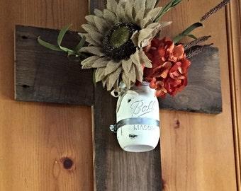 Wooden Cross - Barnwood Cross - Mason jar wall sconce - Mason jar vase