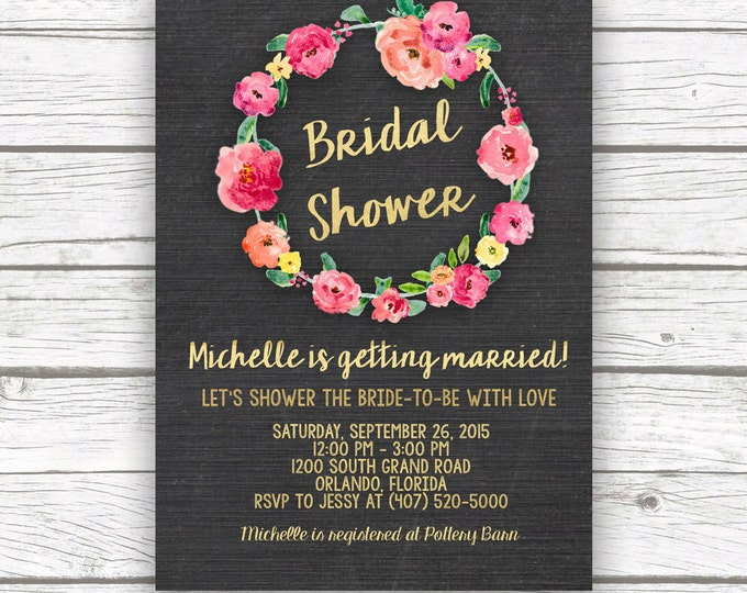 Chalkboard Gold Foil Pink Floral Bridal Shower Invitation w/ Matching Back, Pink Peony Bridal Shower Invite, Printed or Printable Invitation