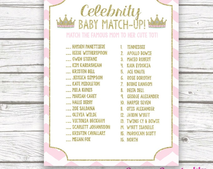Pink and Gold Princess Celebrity Baby Match Game, Gold Glitter Celeb Baby Shower Game, Tiara Crown Princess Theme, Baby Girl Shower