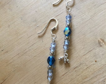 Sleek Silver and Blue Earrings