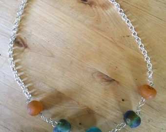 Silver Recycled Bead Necklace