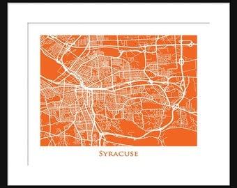 Syracuse New York Map - Map of Syracuse New York - Syracuse University - Print - Poster - Orange