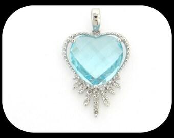 14K white gold HEART PENDANT 6.20CT sky blue topaz & 0.14CT diamond