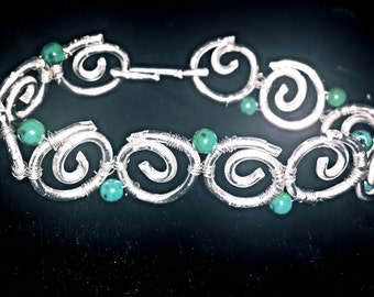 Spiral Wire-Wrapped Chrysocolla Bracelet