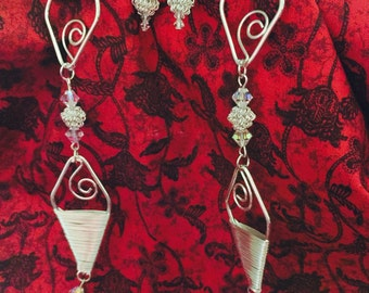 """36"""" Wire-Wrapped, Beaded Necklace with Matching Earrings"""