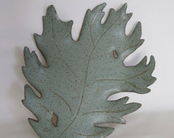 Sage green ceramic leaf jewelry holder, candy dish, crystal plate