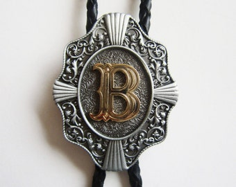 "Initial Letter ""B"" Western Cowboy Rodeo Bolo Tie"