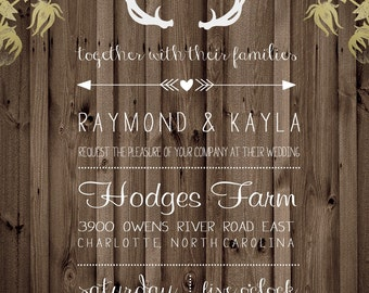 Country Rustic Cotton Antlers Wood Wedding Invitation Digital Download File