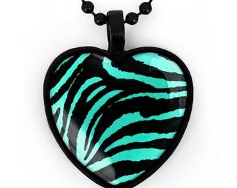 Jet Black & Teal Zebra Animal Print Heart Pendant Necklace 209-JBHN