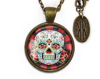 Antique Bronze Day of the Dead Sugar Skull Glass Pendant Necklace 61-BRPN