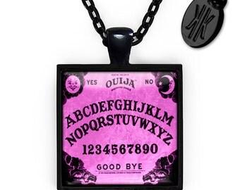 Jet Black Gothic Purple Ouija Board Glass Horror Halloween Pendant Necklace 50-JBSPN