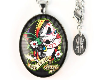 Large Silver Day of the Dead Sugar Skull Tattoo Glass Pendant Necklace 75-SLOPN