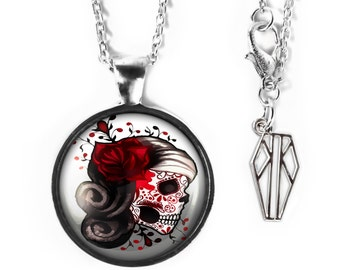 Platinum Silver Day of the Dead Sugar Skull Girl Glass Pendant Necklace 73-SRPN