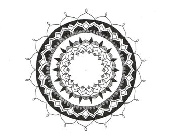 Radiant: Hand drawn black and white mandala