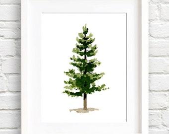 Pine Tree Print - Art Print - Wall Decor - Watercolor Painting