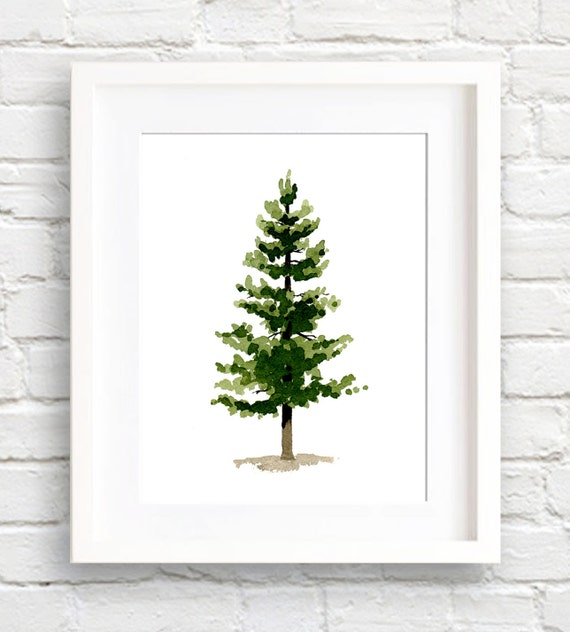 Wall Decor Pine Trees : Pine tree art print wall decor watercolor painting