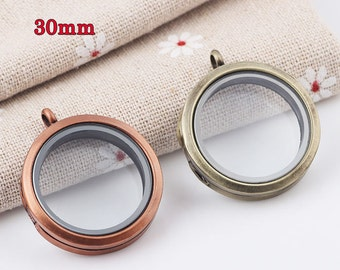 30mm Round Shape Floating Glass Locket ,Magnet Closure Locket , Floating Locket Necklace Pendant ,Shadow Box Locket ,Red Copper / Bronze