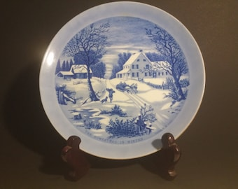 "Currier and Ives ""The Homestead in Winter"" Plate"