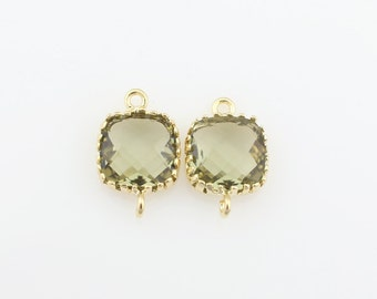 G000104C/Khaki/Gold plated over brass/Tooth Framed square faceted glass connector/9mm x 13.4mm/2pcs