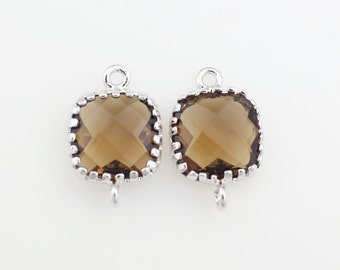 G000115C/Smoky Quartz/Rhodium plated over brass/Tooth Framed square faceted glass connector/9mm x 13.4mm/2pcs