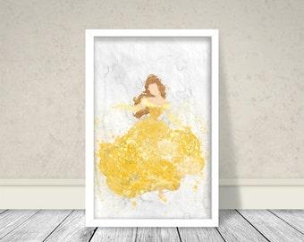 Watercolor Belle Inspired Art, Disney Princess Art, Disney Art, Kids Room Art, Nursery art