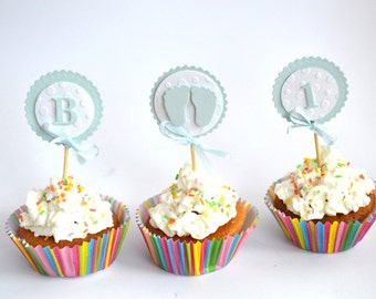 12 Baby Shower Cupcake Toppers Baby Shower Boy Decorations It's a Boy Cupcake Decor Baby Feet. 3D Little Toes Shower Decorations Footprint