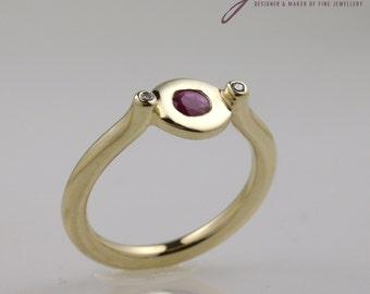 9 ct Yellow Gold Ruby & Diamond Dress Ring