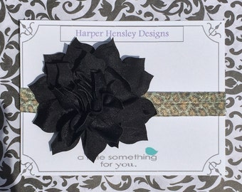 Large black flower with cheetah print headband!
