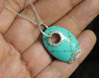 Vintage Handmade Sterling Silver and Natural Turquoise Necklace Pendant