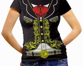 Mariachi Charro Womens Mexican Halloween Costume T-Shirt