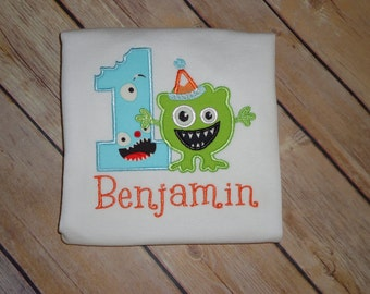 Personalized 1st Birthday Boys Monster Shirt - Custom Made to Order