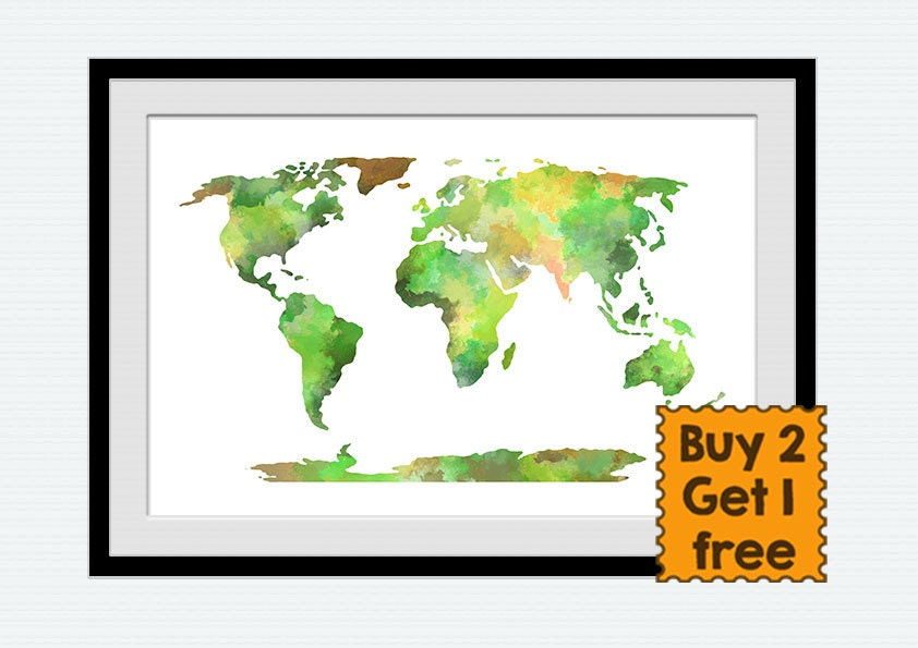 World map watercolor poster world map illustration in green