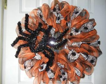 Halloween Deco Mesh Wreath/Spider Deco Mesh Wreath/Orange and Black Deco Mesh Wreath