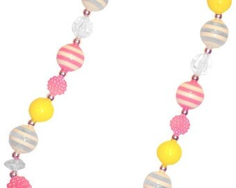 Pink,Yellow, Chunky Bubble Gum Necklace