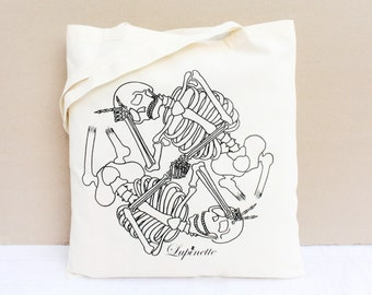 Cotton Tote Bag / Shopping bag / Organic Cotton Bag - Ying and Yang Skeletons