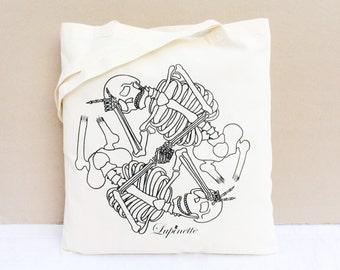 Tote Bag coton BIO / Sac coton bio / Sac Shopping - Squelettes Ying et Yang