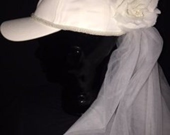 Bridal Bachelorette Wedding Veil Party Baseball Hat Autographable