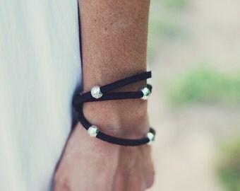 Black leather rope bracelet