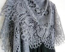 Smoke Mohair Shawl. Hand Knit Lace Shawl. Free Shipping. Knit triangular shawl. Made To Order. Knitted Shawl