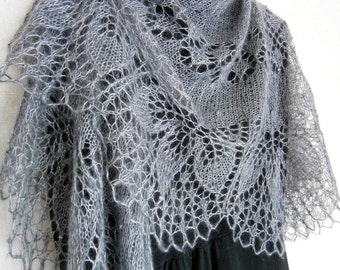 Smoke Mohair Shawl. Hand Knit Lace Shawl. Knit triangular shawl. Made To Order. Knitted Shawl