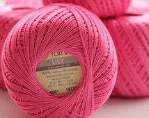 Crochet cotton yarn Set of 8 skeins LILY 100% cotton by YARNART Cotton knitting yarn 225m 50g Crochet Mercerized Cotton Yarn