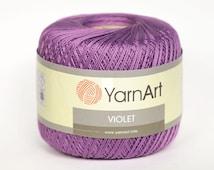 Mercerized  Cotton Yarn Set of 6 skeins VIOLET 100% Cotton by YARNART Yarn knitting crochet 282m 50g / Crochet Cotton thread