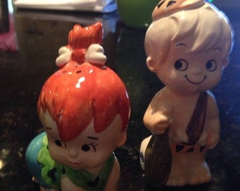 Vintage Flinstone Pebbles and Bam Bam salt pepper  Please like my shop on FB and share with your friends. Thank you.