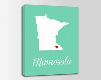 Minnesota Canvas Etsy - Minnesota map usa