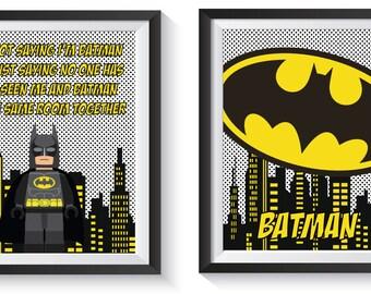 Superb Batman Superhero Art Print Set   Qty 2   BEDROOM, BATHROOM, PLAYROOM Poster  Decor
