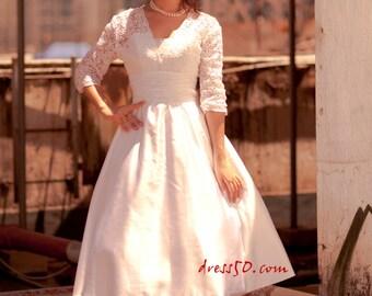 50shouse_ 50s inspired retro feel deep V neckline lace 3/4 sleeves tea wedding dress with sash_ custom make