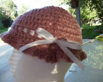 Dusty Rose crocheted hat