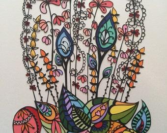 Flower Power Original Hand-cut Paper Art (A4)