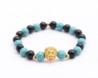 mens bracelet , women's bracelet 18kt gold lion head mix black agate & turqouise beads