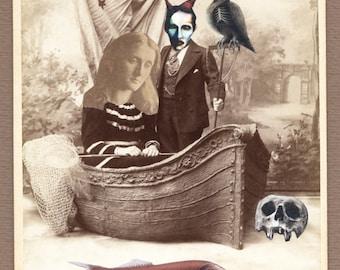 "original surreal collage ""Death river..""  DarkArt, surreal, Art, collage,cabinet card,"